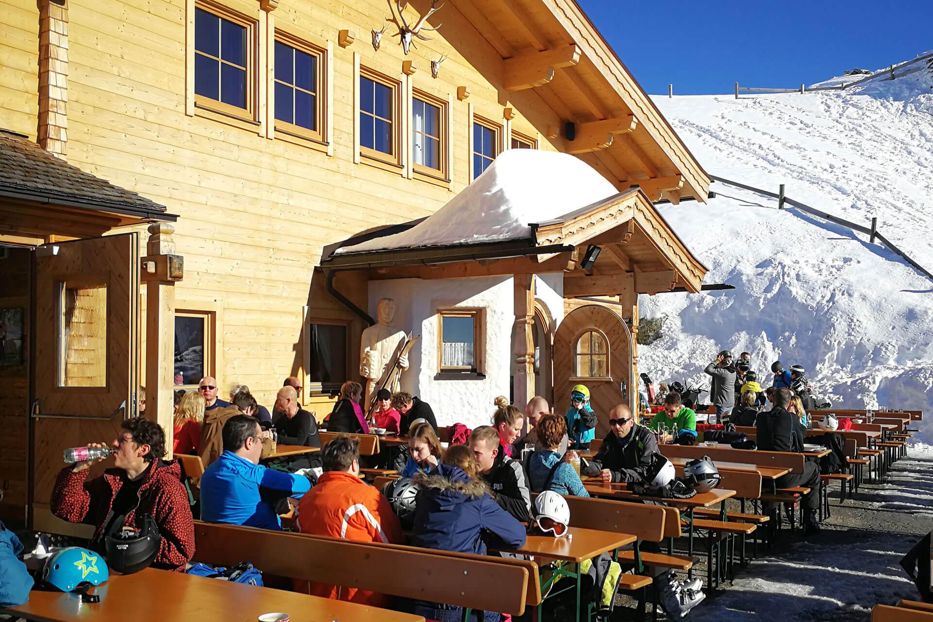Skihütte Fussalm Terrasse